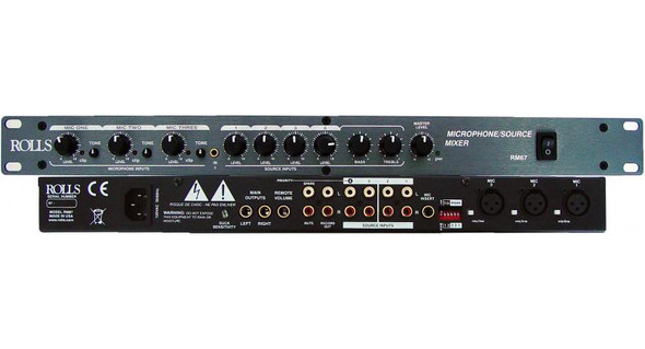 Rolls RM-67 7-Channel Mic/Source Mixer - Front & Rear View