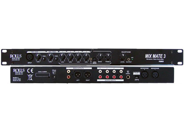 Rolls RM-69 MixMate 3 6-Channel 2 Mic + 4 Source Mixer