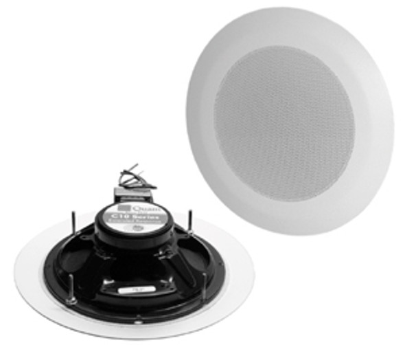 "Quam C5 Ceiling Mounted Speakers - C5/B70/W 8"" O.D. speaker, 5 ounce magnet, 4W-70V transformer, round screw-through baffle"