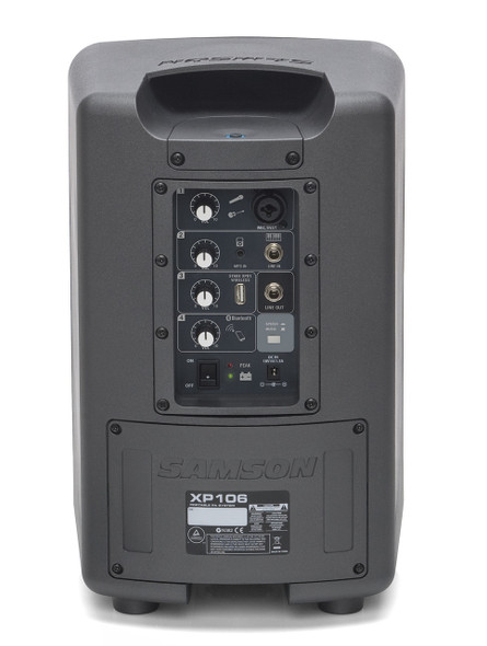 Samson  Expedition XP106 - Rechargeable Portable PA with Bluetooth and Handheld Microphone with Cable - Rear Panel