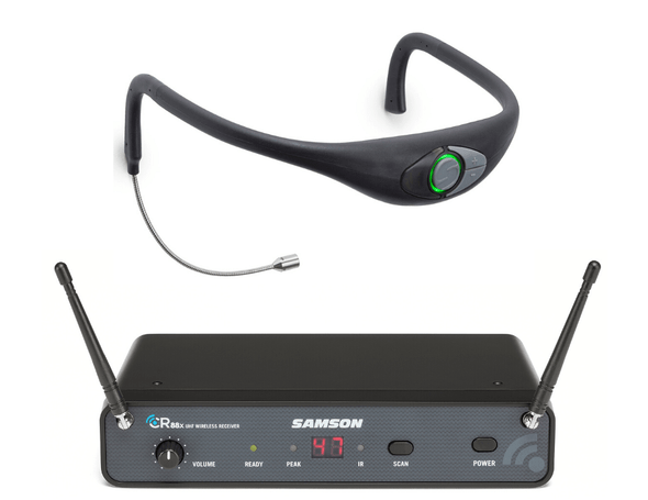 Samson Airline 88 Frequency-Agile CR88x Receiver + AH8 Combo Sweat-Resistant Fitness Headset
