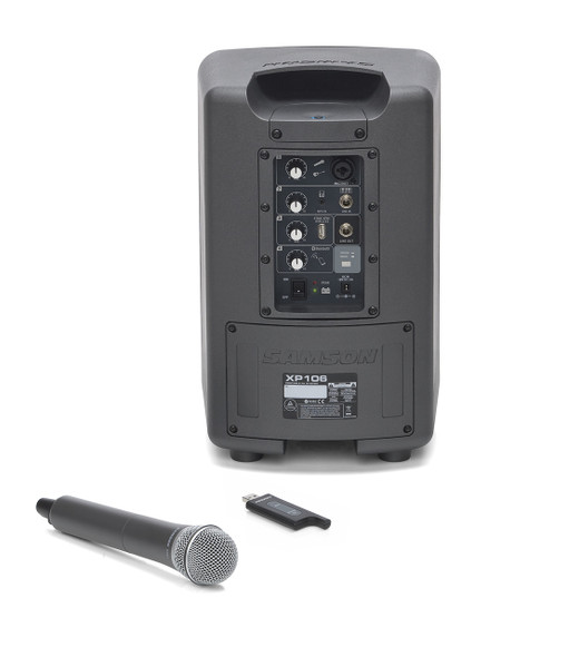 Samson  Expedition XP106W - Rechargeable Portable PA with Bluetooth and XPD1 Wireless Handheld Microphone - Rear Panel