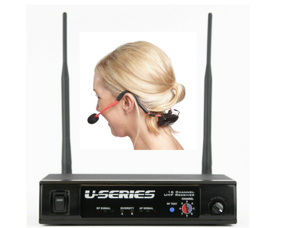 Fitness Audio MT-U8-II UHF Combo Wireless Mic System with E-MIC Fitness Headset with Receiver - Red shown (select E-mic color when ordering)