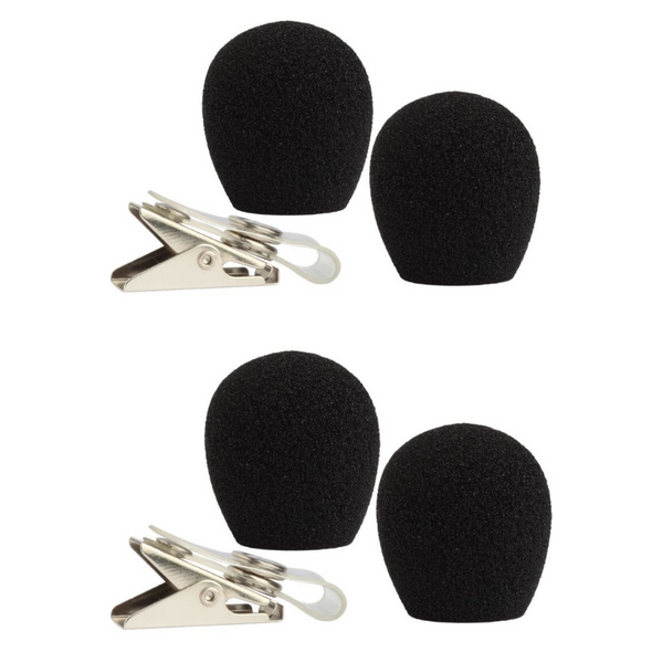 Shure RK318WS for Shure WH20 -  4 black windscreens and 2 clothing clips