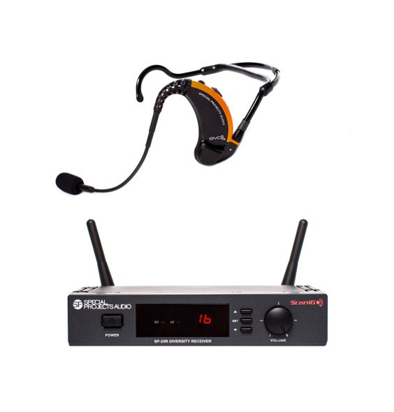 Special Projects SP-EVO-25-D1 EVO True Wireless Fitness System – Complete system includes SP-EVO-D1 Combo Headset, 16-channel SP-25R Scan16 receiver, battery charger and mounting hardware
