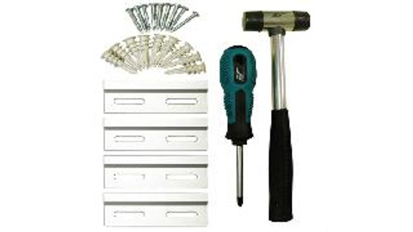 Free Installation Kit =  Includes backets, mollies, screws, screwdriver & hammer.