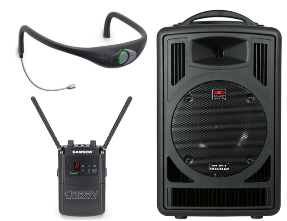 Supreme Audio Poolside™ Portable Sound System - Galaxy Audio TV8 Battery Powered PA + Samson AirLine AH8 Combo Headset + CR88v UHF Receiver - D Band - 542–566MHz