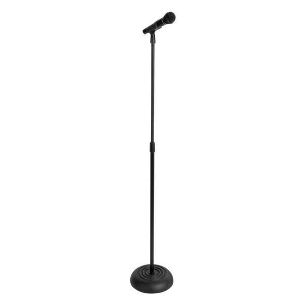 MS7201B Round Base Microphone Stand - Shown with Handheld Wireless Mic