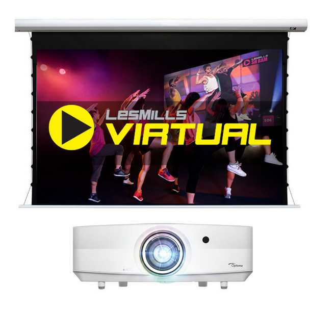 """Projector systems - Premium with Les Mills Virtual System includes: 5000 lumen laser projector Drop ceiling projector mount Specialized light-rejecting electric screen 135"""" diagonal HDMI extender over Cat Audio extractor Connecting cables"""