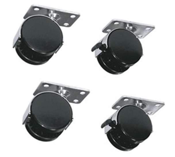"""RACKRKW - Caster kit has 150 lb weight capacity; adds 2-3/4"""" to height. Sold as a set of 4 (2 locking)"""
