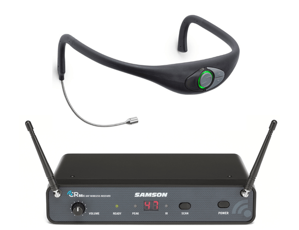 Samson Airline 88 Frequency-Agile CR88 Receiver + AH8 Combo Sweat-Resistant Fitness Headset