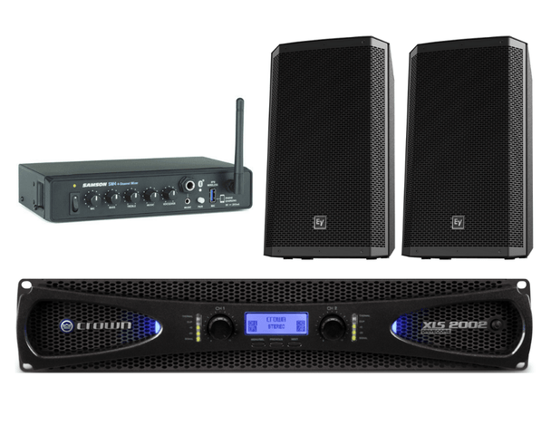 """Includes: Crown XLS1002 215 Watt Power Amplifier Samson SM4 4-Channel Mixer (with Bluetooth™ connectivity) Electro-Voice ZLX12 12"""" 2-Way Speakers 250 Watts (pair) On-Stage Speaker Brackets - Tilt/Swivel (pair) Cable Kit - Component Connecting Cable Kit CB14WP Bulk Cable - 14 Gauge Whie Plenum (50 ft.) Speakon C2-Pole Cable Plugs (2)"""