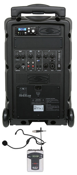 Galaxy Audio TV8 AC/Battery-Powered 120 Watt Portable Sound System - Basic System + 1 Wireless Receiver + 1 Fitness Headset Wireless Microphone System (TV8-00100000K9)