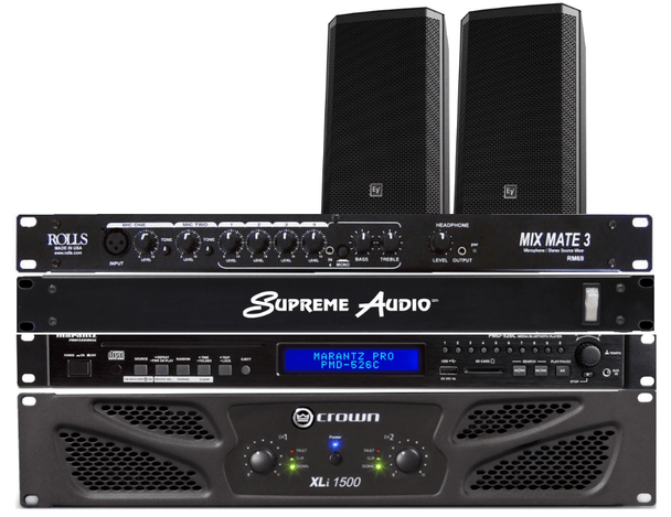 "Dance Studio Sound System #3 - 300 Watts RMS Ideal for Dance Studios up to 1.500 sq. ft. Includes Crown XLi-1502 300 Watt Power Amplifier, Samson SM4 4-Channel Mixer with Bluetooth™, Electro-Voice ZLX15 400 W RMS, 1,000 W Peak, 15"" Speakers (pair),  Electro-voice ZLX Speaker Brackets (pair), 100 ft. CB14WP White Plenum Speaker Cables, Speakon Plugs (2), Audio Cable Connecting Kit"