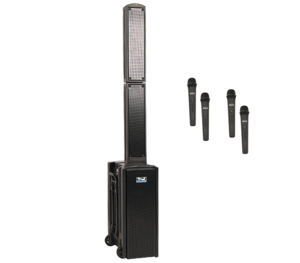 BEA-QUAD - Anchor BEACON 2 Portable Sound System with 4 Wireless Systems - Handheld Mics and/or Headband and Lapel Mics with Beltpack Transmitters - shown with 4 Handheld Wireless and/or Headset + Beltpacks