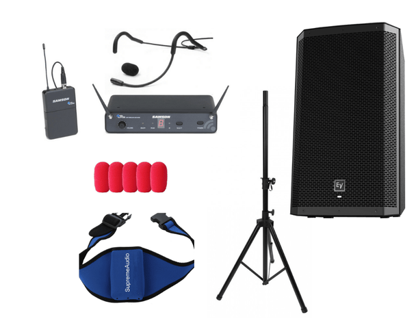 """Supreme System #3 250-watt RMS, 1,000-watt peak  @ 8 Ohms For Studios up to 1,500 sq. ft. Powered Speaker & Stand:  Electro-Voice ZLX15P 15"""" 2-Way Powered Speaker (1) On-Stage Speaker Stand (single) with carry bag Wireless Mic & Accessories: Samson Concert 88 QEP3 Fitness Headset/Beltpack Wireless Mic System (Freq. D) Connecting Cable Kit"""