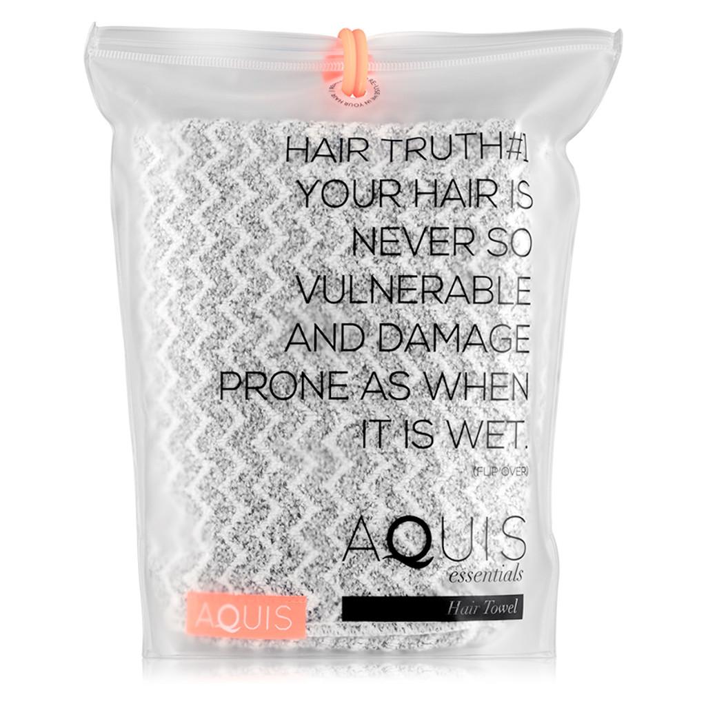 AQUIS Hair Towel Chevron Weave - Black and White