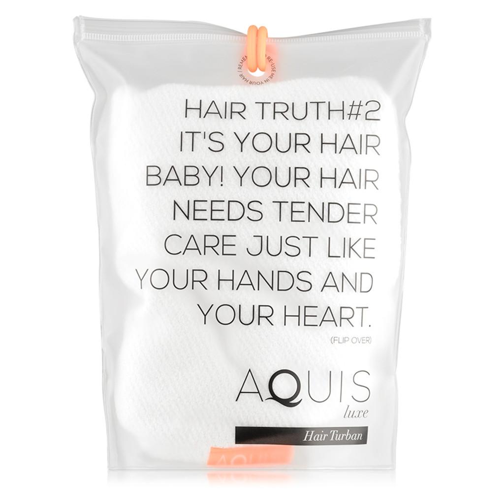 AQUIS Hair Turban Lisse Luxe - White
