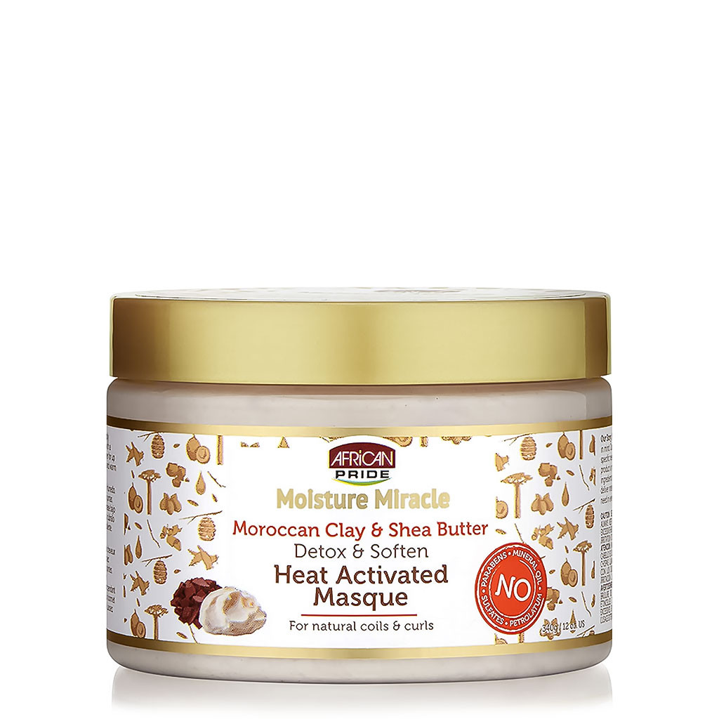 African Pride Moisture Miracle  Moroccan Clay & Shea Butter Heat – Activated Masque (12 oz.)