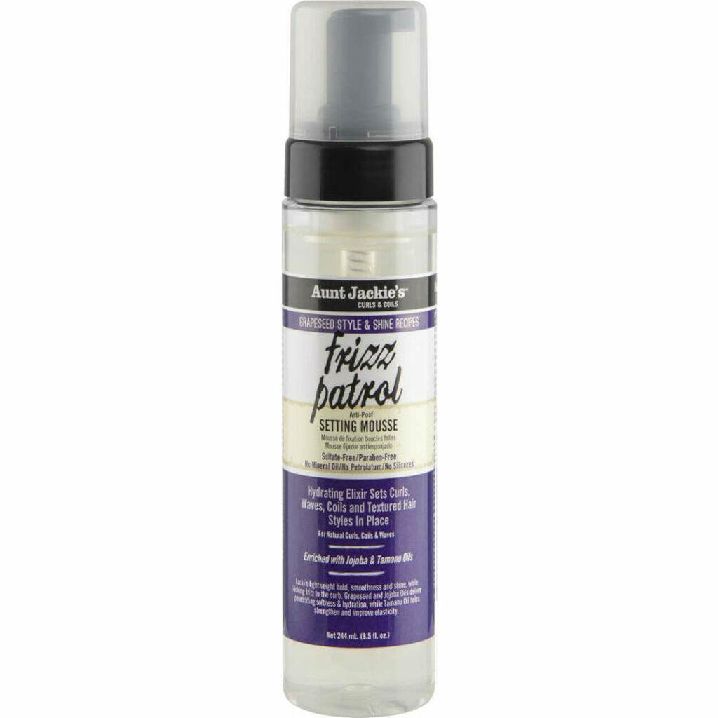 Aunt Jackie's Grapeseed Style & Shine Recipes FRIZZ PATROL Anti-Poof Twist & Curl Setting Mousse (8 oz.)