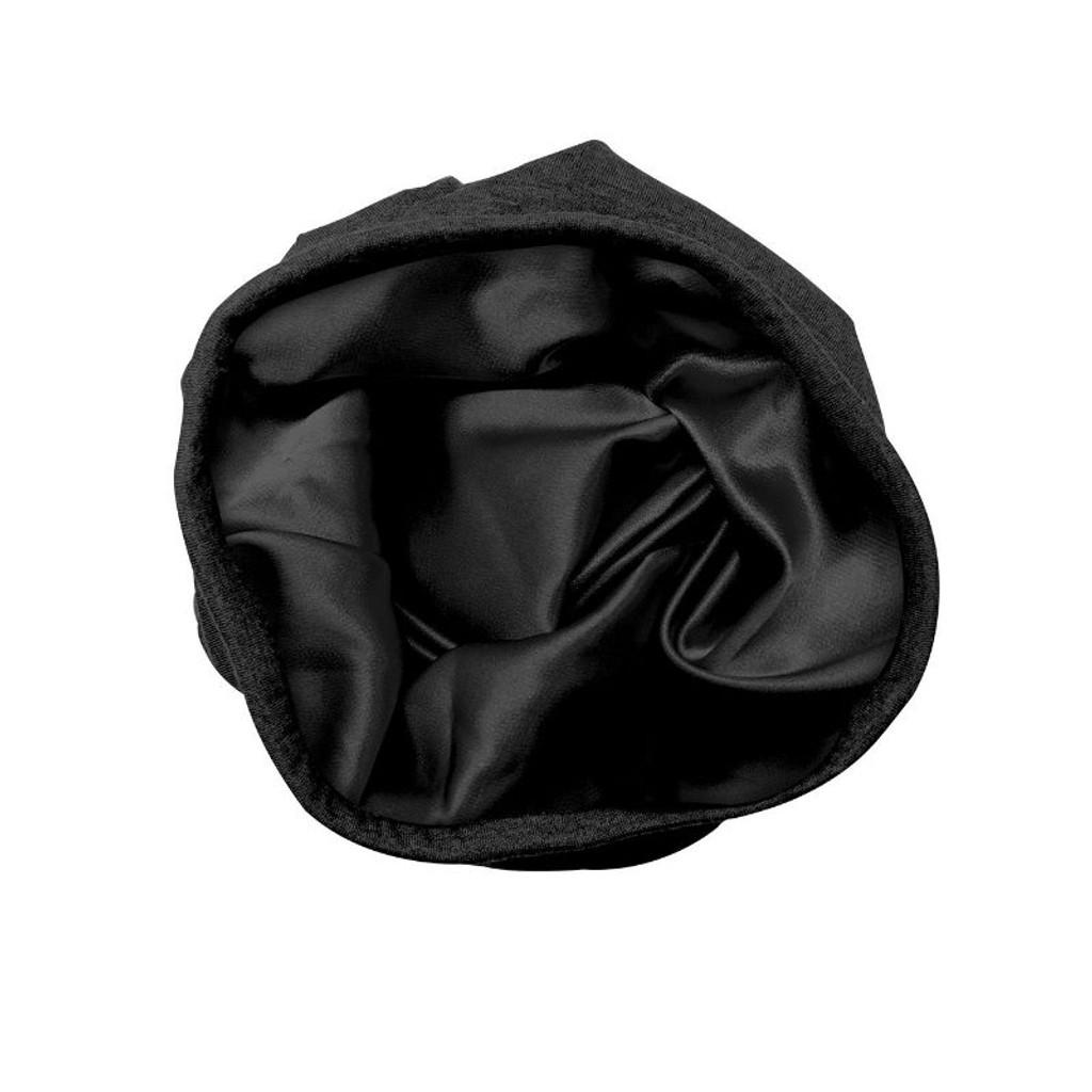 Adama Black Satin Lined Jersey Beanie