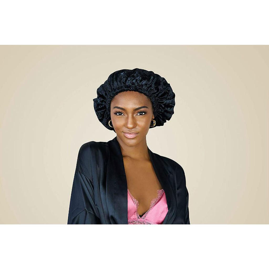 SwirlyCurly Black Velvet Bonnet