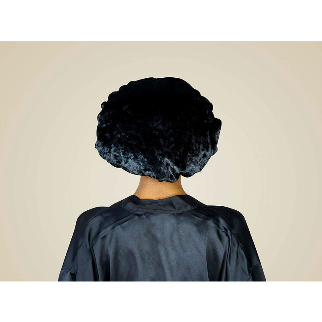SwirlyCurly Black Velvet Bonnet