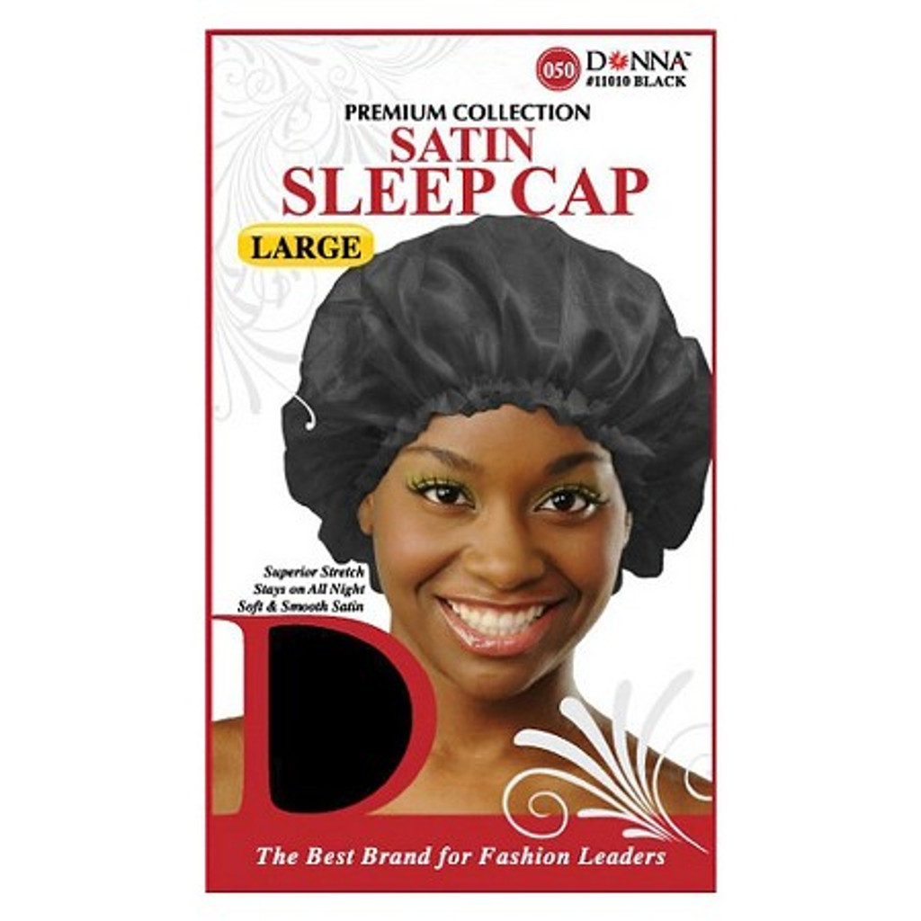 Donna Black Satin Sleep Cap