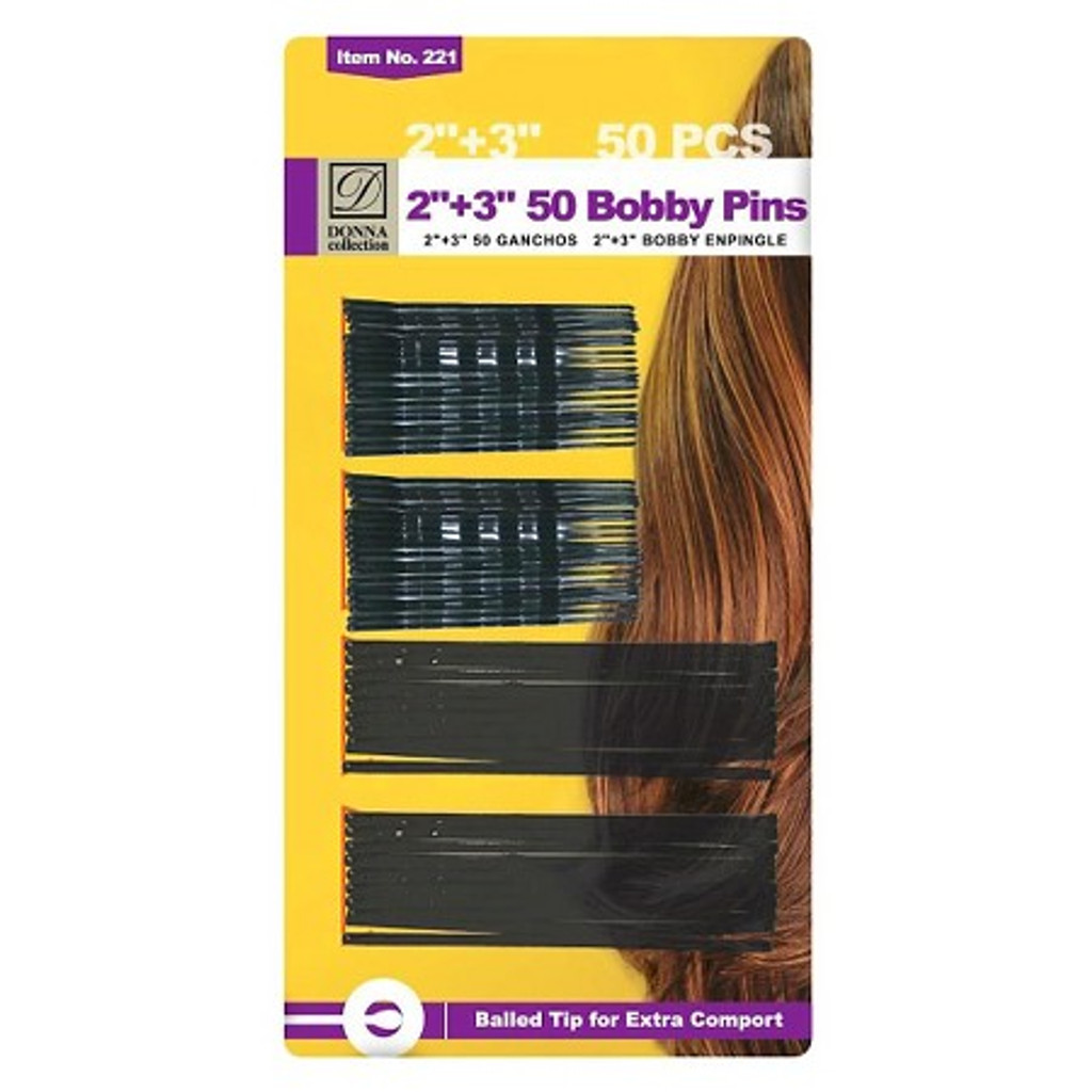 """Donna Black Bobby Pins 2"""" and 3"""" (50 ct.)"""