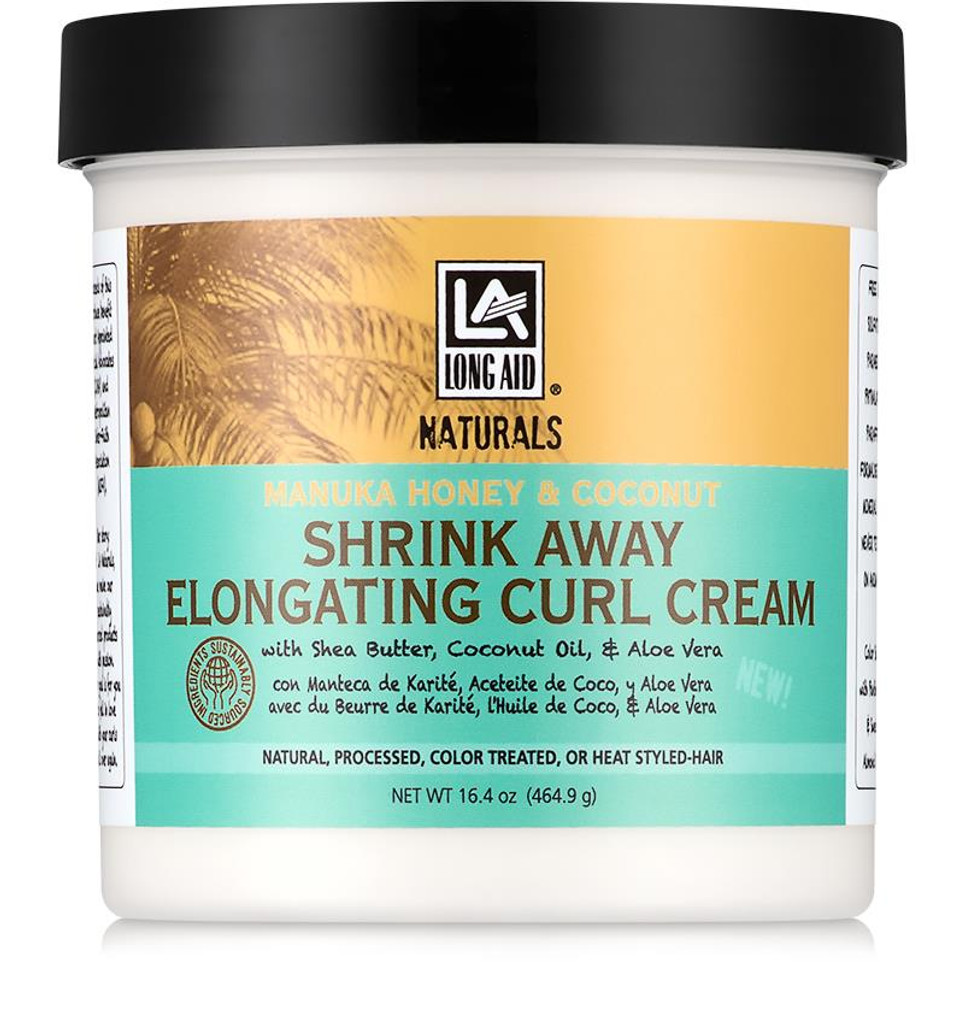 Long Aid Naturals Manuka Honey & Coconut Shrink Away Elongating Curl Cream  (16.4 oz.)