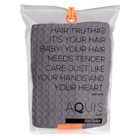 AQUIS Hair Turban Waffle Luxe - Moody Grey