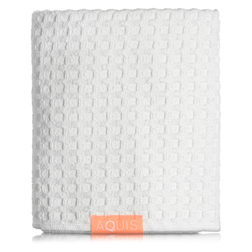 AQUIS Hair Towel Waffle Luxe - White
