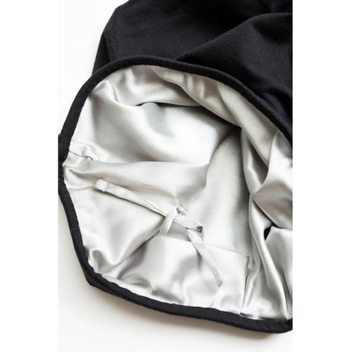Grace Eleyae Black Adjustable Slap Satin-Lined Cap