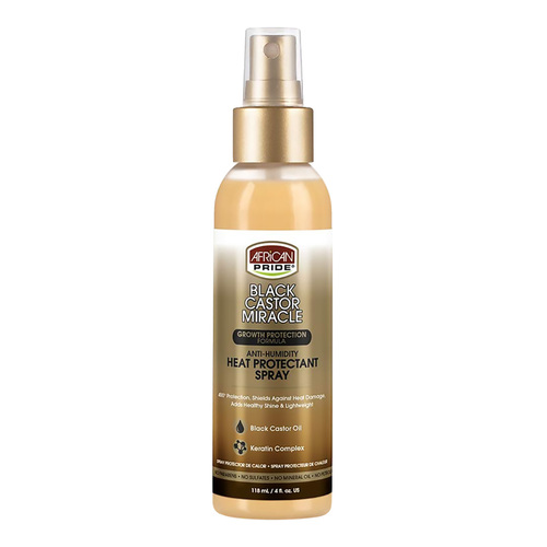 African Pride Black Castor Miracle Anti-Humidity Heat Protectant Spray (4 oz.)