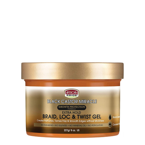 African Pride Black Castor Miracle Extra Hold Braid, Loc, & Twist Gel (8 oz.)