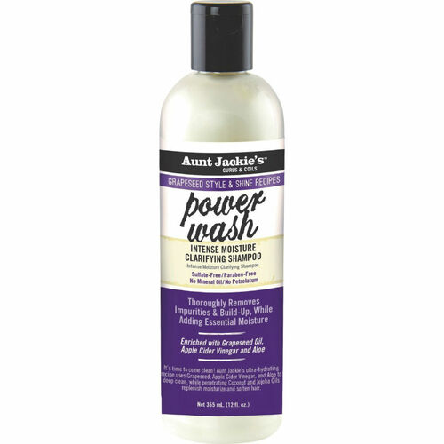 Aunt Jackie's Grapeseed Style & Shine Recipes POWER WASH Intense Moisture Clarifying Shampoo (12 oz.)