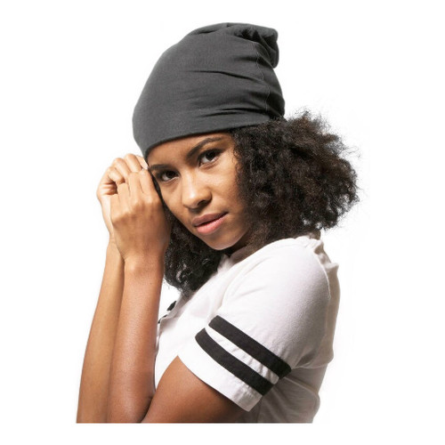Adama Gray Satin Lined Jersey Beanie