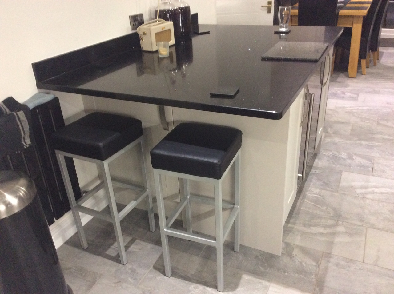 Cube bar stool faux leather black commercial or domestic