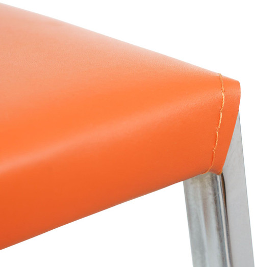 Eccellente Signature Leather Bar Stool Tan Orange