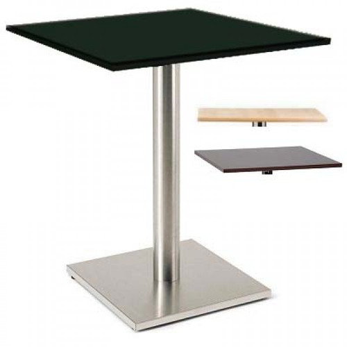 Luxor Black Square 600 Poseur Table With Brushed Frame