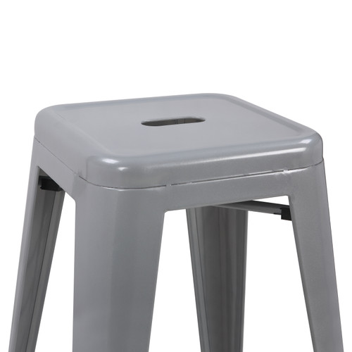 Set of 2 Oslo Bar Stools Silver