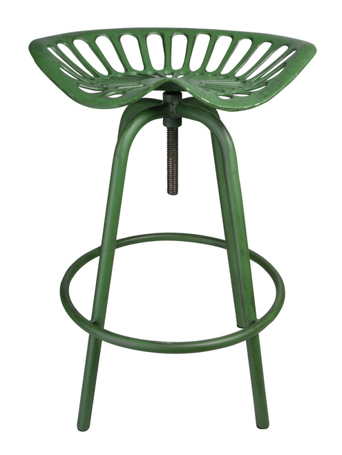 Pair of Industrial Tractor Bar Stools Green