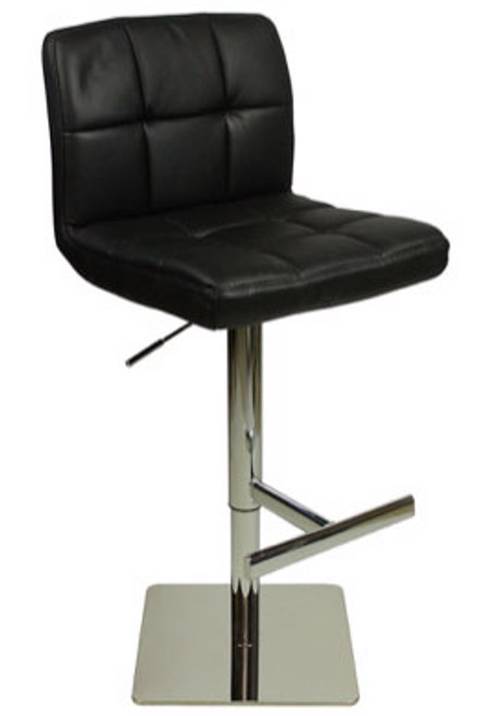 Deluxe Allegro Leather Bar Stool Black Square Base