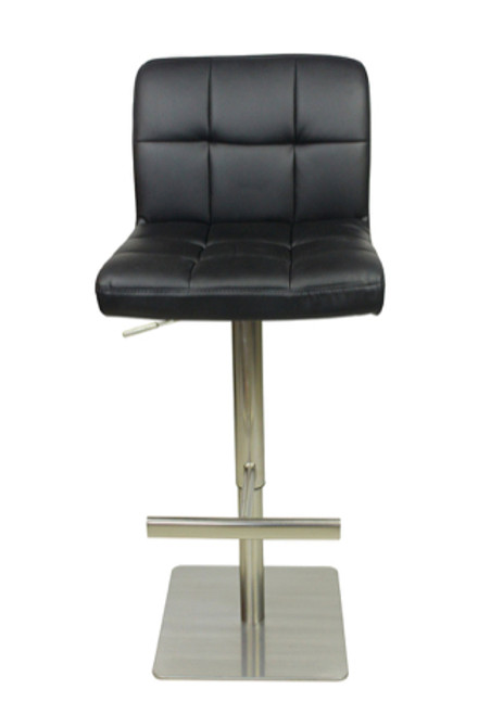 Deluxe Allegro Brushed Bar Stool Black Square Base