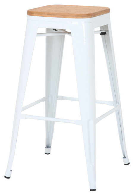 Tolix White Natural Bar Stool