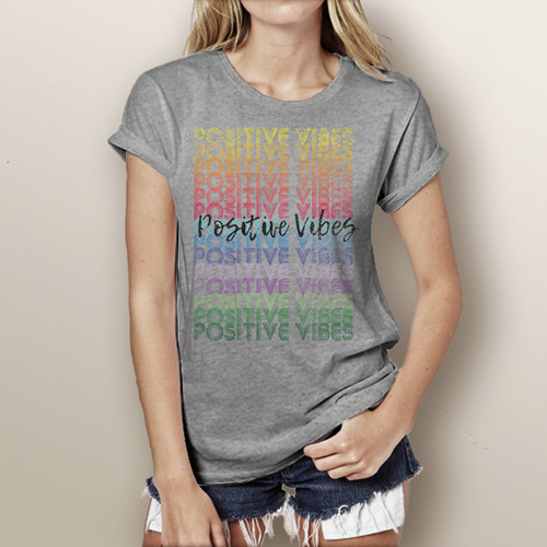 Positive Vibes  (colorful version)- Woman's Short Sleeve T-Shirt