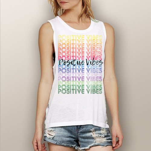 Positive Vibes (colorful version)- Muscle Tank (More Color Choices)