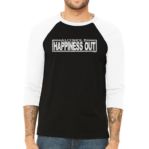 Alcohol In Happines Out - Unisex  Long-Sleeve Raglan Black with White Sleeves