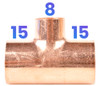 15mm x 15mm x 8mm Reducing Tee - End Feed
