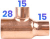 28mm x 15mm x 15mm Reducing Tee - End Feed